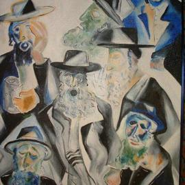 Shoshannah Brombacher: 'The Third of Tamuz', 1996 Oil Painting, Death. Artist Description: This picture was made after the Lubavitcher Rebbe passed away. It shows a levaya. ...