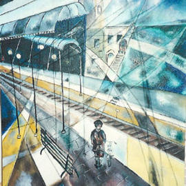 Shoshannah Brombacher Artwork The boy at the railway station, 1988 Other Drawing, Holocaust