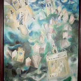 Shoshannah Brombacher: 'The graveyard of Prague', 1994 Oil Painting, Death. Artist Description: This is the famous graveyard in the ghetto of Prague, where the Hoyche Rabbi Loeb, the maker of the golem, is buried. His grave with candles and stones is in the foreground....