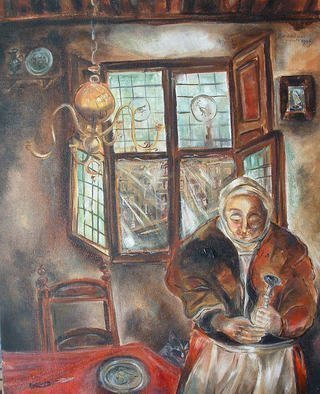 Shoshannah Brombacher: 'Woman with pear', 1996 Oil Painting, Ethnic.  This is a woman in a 17th century interior in my native Holland. ...