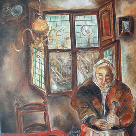 Shoshannah Brombacher: 'Woman with pear', 1996 Oil Painting, Ethnic. Artist Description:  This is a woman in a 17th century interior in my native Holland. ...