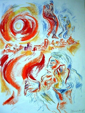 Shoshannah Brombacher Artwork Yona and the city of Nineve, 1995 Other Drawing, Biblical