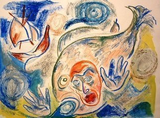 Shoshannah Brombacher Artwork Yona in the Fish, 1995 Other Drawing, Biblical