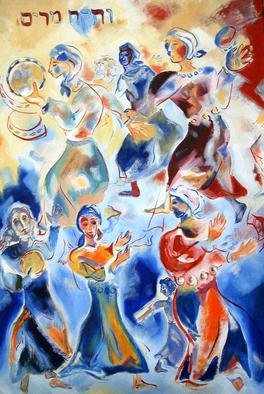 Shoshannah Brombacher: 'miriam dancing', 1997 Oil Painting, Biblical. Artist Description: This is one of my paintings bout Biblical women. Miriam, Moses  sister, took her tambourine after the Jews got safely on dry land and escaped Pharaoh s heir, and sang an song of praise. All the Jewish women sang and danced with her. ...