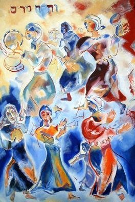 Shoshannah Brombacher: 'miriam dancing', 1997 Oil Painting, Biblical. This is one of my paintings bout Biblical women.  Miriam, Mosessister, took her tambourine after the Jews got safely on dry land and escaped Pharaoh s heir, and sang an song of praise.  All the Jewish women sang and danced with her. ...