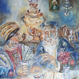 Shoshannah Brombacher: 'tea on shabbos afternoon', 2017 Oil Painting, Judaic. Artist Description: An old Chassidic couple cherishes their quiet afternoon tea on Shabbos, with their old samovar, books and memories. ...
