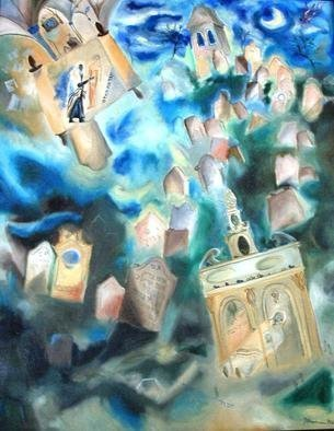 Shoshannah Brombacher: 'the jewish cemetery of prague', 1996 Oil Painting, Kabbalah. For years I have been working on thebthem of the Golem of Prague, which resulted in many paintings and drawings, like this one.  The Hoykhe Rabbi Loeb contemplates his golem. See: