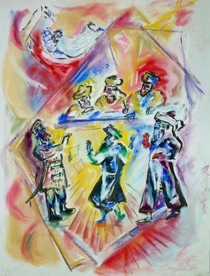 Shoshannah Brombacher: 'the purim angel', 2016 Pastel Drawing, History. Artist Description: I am illustrating a book about the Shpoler Zeide, a famous Chassidic Rebbe, by Dr. J. Paull and J. Briskman. There are many stories about the  Shpoler Zayda and i made pastel drawings, like this one, and oil paintings. They will be included in the book, but the ...