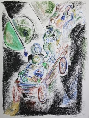 Shoshannah Brombacher: 'the wagon of the baal shem', 1995 Pastel Drawing, Biblical. Artist Description: The artist has made numerous drawings of the Chassidic Master called the Baal Shem Tov, or Besht, his wagon, and stories about him. Here he flies miraculously through the air with his Chassidim. ...