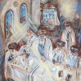 Shoshannah Brombacher: 'trial of the shpoler zeide 1', 2017 Oil Painting, History. Artist Description: I am illustrating a book about the Shpoler Zeide, a famous Chassidic Rebbe, by Dr. J. Paull and J. Briskman. There are many stories about the Shpoler Zayda  or: Zeide . I made pastel drawings and oil paintings. They will be included in the book, but the originals are ...