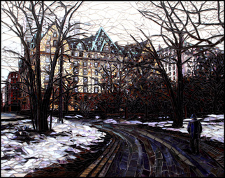Mosaic by Sandra Bryant titled: Central Park in the Snow, created in 2014