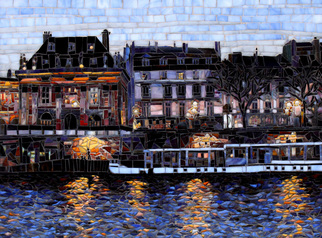 Mosaic by Sandra Bryant titled: Evening Walk on the Seine, created in 2014