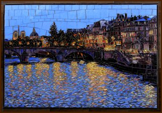 Sandra Bryant: 'across the seine', 2020 Mosaic, Cityscape. Glass mosaic artwork inspired by an evening walk along the Seine River in Paris. ...