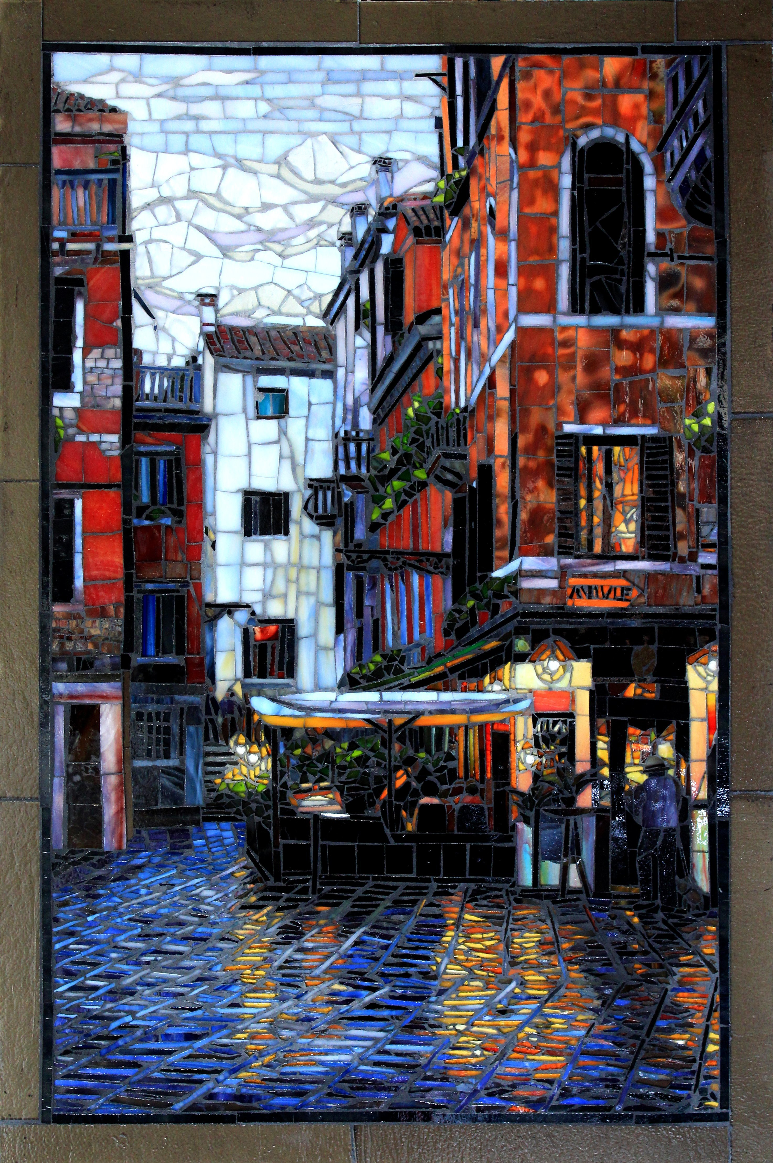 Sandra Bryant: 'after the rain', 2019 Mosaic, Cityscape. The reflections on the wet cobblestones on a Venice street after a rain.  Glass mosaic art by Showcase Mosaics...