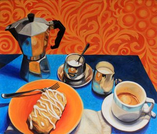 Sandra Bryant: 'breakfast of champions', 2020 Oil Painting, Still Life. A favorite way to start the day, coffee and danish. ...