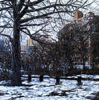 Sandra Bryant: 'central park', 2019 Mosaic, Cityscape. A view of the trees in winter Central Park.  Fine art mosaic by Showcase Mosaics...
