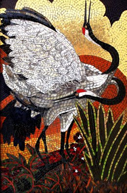 Sandra Bryant: 'cranes in gold', 2019 Mosaic, Birds. A pair of red crowned cranes with a 24K gold background.  Fine art mosaic by Showcase Mosaics. ...
