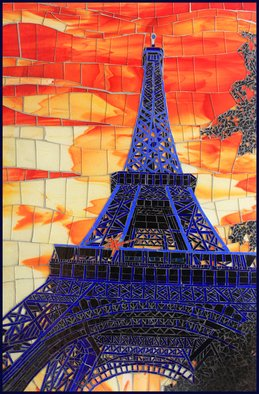 Sandra Bryant: 'eiffel in blue', 2020 Mosaic, Cityscape. The beautiful view of the Eiffel Tower in Paris. ...