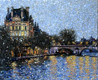 Sandra Bryant: 'first snow in paris', 2019 Mosaic, Cityscape. Walking along the Seine in Paris looking at the Louvre.  Fine art mosaic by Showcase Mosaics...