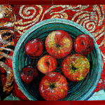 fruit bowl on a red cloth By Sandra Bryant
