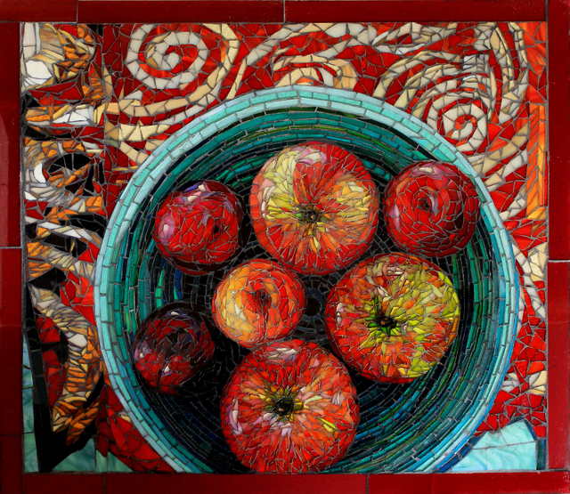 Sandra Bryant  'Fruit Bowl On A Red Cloth', created in 2019, Original Mosaic.