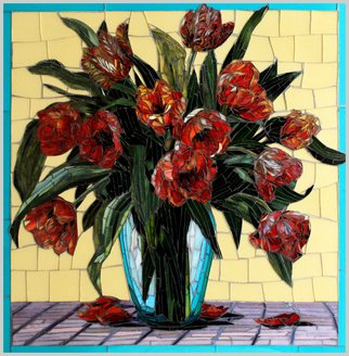 Sandra Bryant: 'joy of tulips', 2020 Mosaic, Floral. Stained glass mosaic inspired by a beautiful vase of parrot tulips in an aqua vessel. ...
