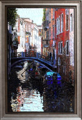Sandra Bryant: 'morning in venice', 2019 Mosaic, Cityscape. Reflections on the water in the city of Venice, glass mosaic art by Showcase Mosaics...