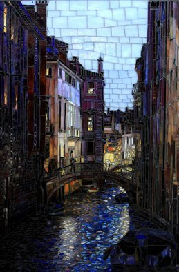 Sandra Bryant: 'night in venice', 2019 Mosaic, Cityscape. A night scene off a Venice bridge glass mosaic art by Showcase Mosaics...