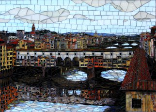 Sandra Bryant: 'ponte vecchio', 2019 Mosaic, Cityscape. Looking at the Ponte Vecchio in Florence, Italy.  Fine art mosaic by Showcase Mosaics. ...