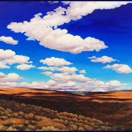 Sandra Bryant: 'walk in cowiche', 2020 Oil Painting, Landscape. Artist Description: This landscape was inspired by a beautiful walk in the desert country of Eastern Washington on a day with incredible clouds and sunshine. . . ...