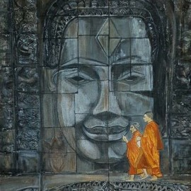 Nandini Sharma: 'buddha angkor wat', 2019 Acrylic Painting, Buddhism. Artist Description: Beautiful  contrast with monks inspired me...