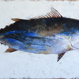 Igor Shulman: '1 fish', 2019 Oil Painting, Fish. Artist Description: Continuing a series of fish. After 2 delicious fish, I made one fish. The picture is called - 1 fish. What in general is obvious, looking at this picture. Do not look inside for any concept. This is not there, as usual. This is just a beautiful, stylish fish ...