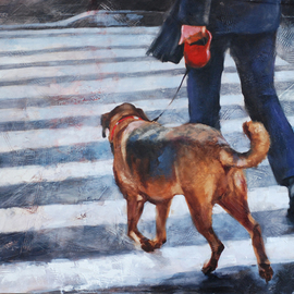 Igor Shulman: 'an unscheduled walk', 2020 Oil Painting, Atmosphere. Artist Description: I responsibly declare to you that the most pleasant thing for a dog is an unscheduled walk. I can say this with confidence, because I have dogs throughout my life.This does not depend on the size or breed of the dog. It only depends on the owner. ...