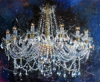 Igor Shulman: 'chandelier 6 cristmas', 2019 Oil Painting, Atmosphere. To be honest, I didn t really like crystal chandeliers. Neither watch nor draw. But then my wife just loves it in any way. It was she who persuaded me to draw the first. Or forced.  But I suddenly liked this lesson. I began to understand something in refraction and ...