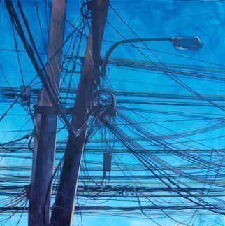 Igor Shulman: 'chaos theory', 2019 Oil Painting, Cityscape. Wires in Asia are a completely fascinating picture. This is a tangled form and meaning. Complete and final chaos. And suddenly even vectors of time come out of this tangle of unnatural forms. And diverge in all directions. All this seems to me the first- born chaos. And behind all ...