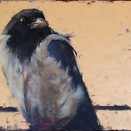 Igor Shulman: 'crow louise', 2019 Oil Painting, Birds. Artist Description: I continue the theme of birds.  Recently I talked with one person.  She is afraid of birds.  Strange, I have very different sensations of bird nature.  The first thing that comes to mind is freedom.  Complete and unconditional freedom of movement.  Birds have no boundaries.  Birds don t ...