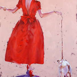 Igor Shulman: 'glamorous walks', 2020 Oil Painting, Beauty. Artist Description: Another picture in retro style.Nothing special, just a lady with a dog. The eternal plot for an ordinary pastoral. In addition to everything, my favorite backlight. Whatever they say, but this light very advantageously emphasizes the silhouettes and at the same time softens them. Only the mood ...