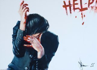 Igor Shulman: 'help', 2020 Oil Painting, Atmosphere. This is a painting about pain.See how tense this guy is. We cannot understand the reasons for this.But we can guess.We cannot know for sure what he has on his hands and how he wrote on the wall.But we can guess.We cannot even guess the ...