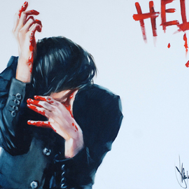 Igor Shulman: 'help', 2020 Oil Painting, Atmosphere. Artist Description: This is a painting about pain.See how tense this guy is. We cannot understand the reasons for this.But we can guess.We cannot know for sure what he has on his hands and how he wrote on the wall.But we can guess.We cannot even ...