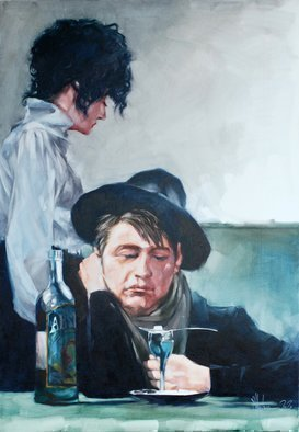 Igor Shulman: 'lovers of absinthe', 2021 Oil Painting, Atmosphere. Or another sad story about alcohol. About love for pleasure and irresponsibility.You probably thought that I was an old grump or some kind of bigot.I am sure that a person lives for the sake of getting pleasure. This is his direct task. He is bathed in pleasure if ...