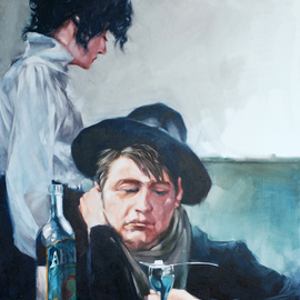 Igor Shulman: 'lovers of absinthe', 2021 Oil Painting, Atmosphere. Artist Description: Or another sad story about alcohol. About love for pleasure and irresponsibility.You probably thought that I was an old grump or some kind of bigot.I am sure that a person lives for the sake of getting pleasure. This is his direct task. He is bathed in ...