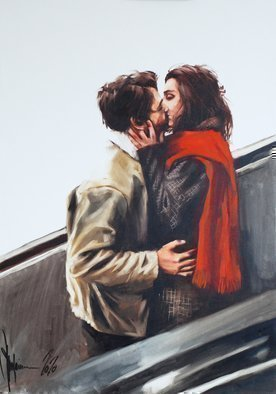 Igor Shulman: 'metro', 2020 Oil Painting, Atmosphere. Everything as usual. Metro, escalator, couple. Well, what else can they do for a whole minute while they drive. Of course kissing. I did the same, so I can talk about it. Kissing for joy  or envy  passing people. demonstrate your love without embarrassment. Be proud of your feelings. There ...