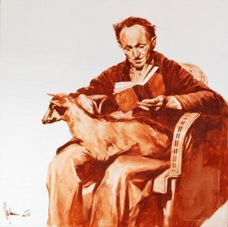 Igor Shulman: 'old man with goat', 2019 Ink Painting, People. More and more often you just want to draw. To do some kind of graphics. Apparently to old age eyes get tired of color stress. Here is another dive into the world of monochrome. In my opinion it turned out very nice. The picture is painted with excellent oil paints ...