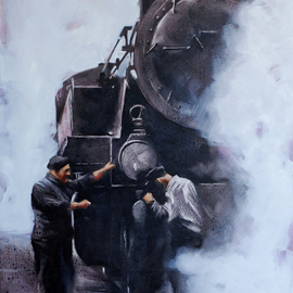 Igor Shulman: 'steam machines 6', 2018 Oil Painting, Figurative. Artist Description: I have always admired these machines. They are huge, like mammoths and scary, like a terminator. Shrouded in steam, they make some sort of strange sounds. They enchant and frighten. They reflected a whole era. And these scared obey the man. Incredible    The picture is painted in oil ...