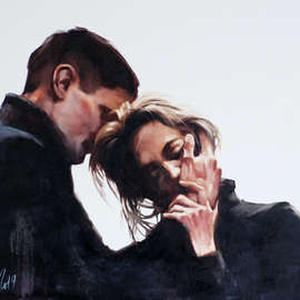 Igor Shulman: 'thank you', 2019 Oil Painting, Love. Artist Description: Such scenes rarely occur during the separation of two adults.  More often, the opposite happens.  Instead, the word thank you, only resentment and the desire to hurt.  Instead of understanding and forgiveness, only the battle and the desire to humiliate.Why, just yesterday, a loved one, we are ...