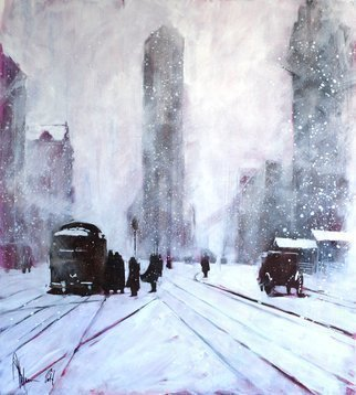 Igor Shulman: 'winter retro', 2018 Oil Painting, Cityscape. It s nice to draw familiar city landscapes in an unusual state. Today this place in New York reminds little of what was there a hundred years ago. The most famous building remained unchanged. And another winter, a blizzard. The picture is painted in oil colors on canvas of high ...