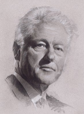 Pencil Drawing by Sid Weaver titled: bill clinton, 2014