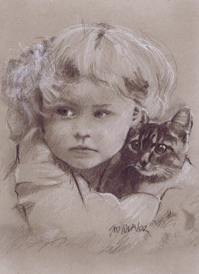 Pencil Drawing by Sid Weaver titled: girl and kitten, 2014
