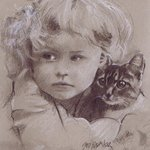 girl and kitten By Sid Weaver