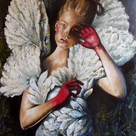 Tatiana Siedlova: 'angels don t cry by siedlova', 2016 Oil Painting, Figurative. Artist Description:  blue, white, wings, weeps, angels, feathers, arms, girl...